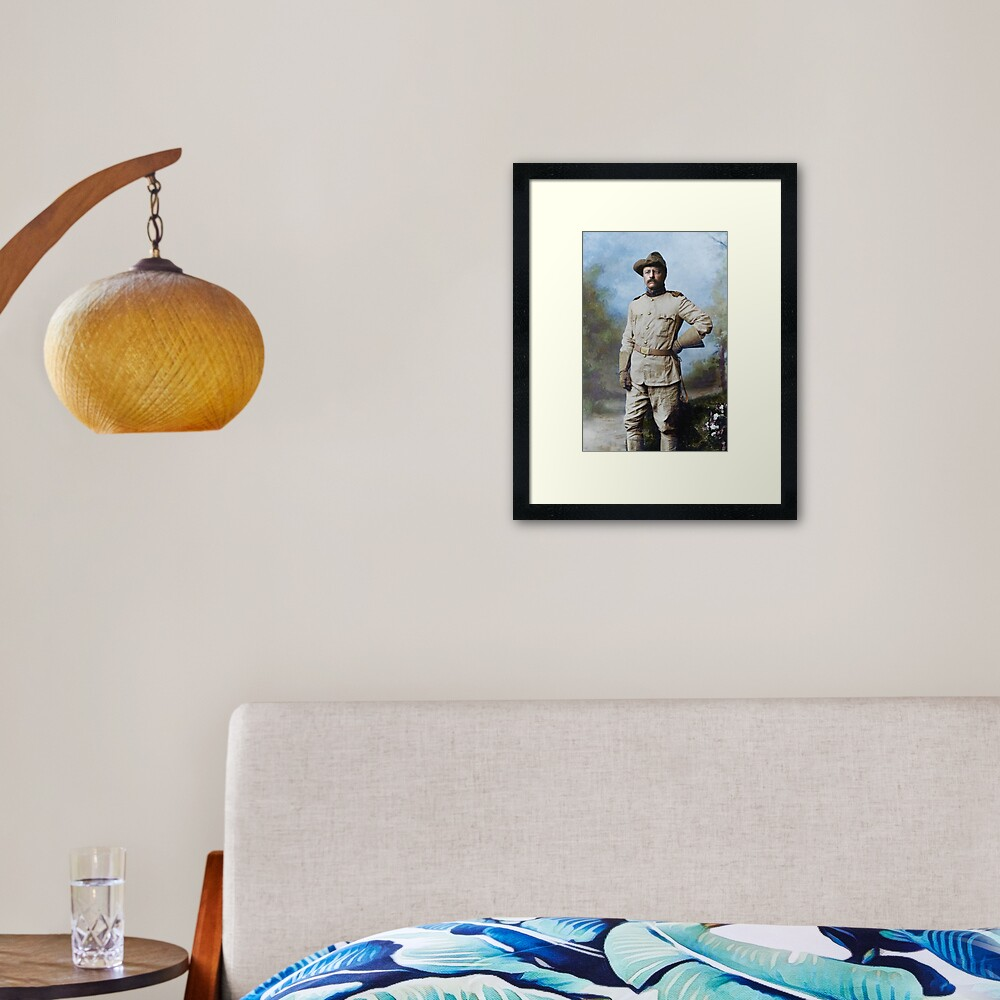 President Theodore Roosevelt in his Rough Riders uniform with his signature blue polka-dotted scarf, 26 October 1898. Framed Art Print