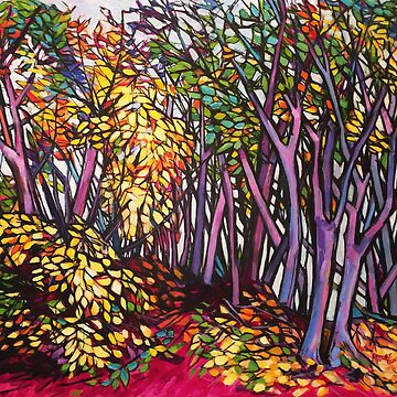 Autumn forest, Nuremberg.  Acrylic on composition board.  by emgolding