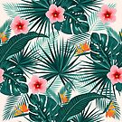 Tropical leaves and flowers seamless pattern by Lusy Rozumna