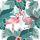 Pink flamingo, tropical leaves and flowers seamless pattern by Lusy Rozumna