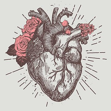 Anatomical Heart Floral by nameonshirt