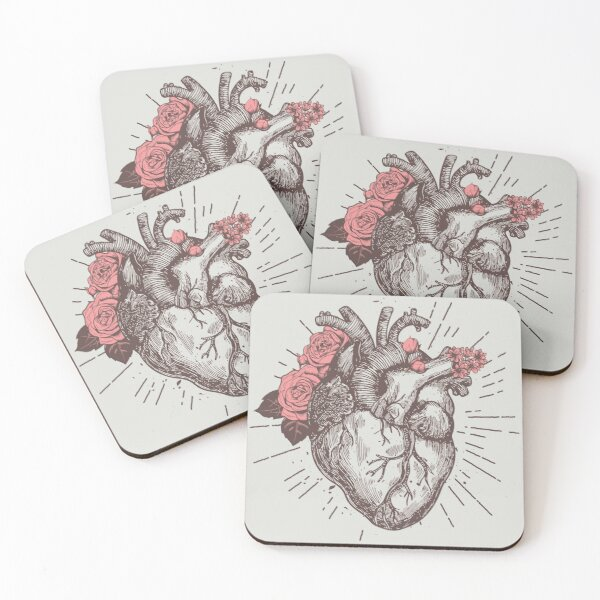 Anatomical Heart Floral Coasters (Set of 4)