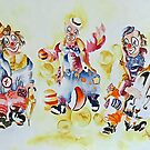 Happy Clowns by Bev  Wells