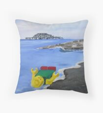 Lego English Seaside Beach Childrens Art Blue Yellow Color Scheme Contemporary Acrylic Painting Throw Pillow