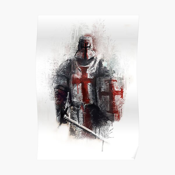 Middle Age Knights with Ancient Armor Costume Illustration Shower Curtain Set