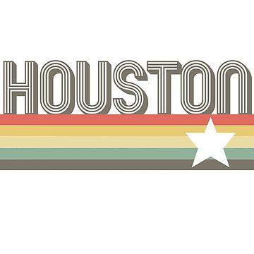 Houston Vintage Retro Texas Art Design Gift City T-Shirt by pashtyc