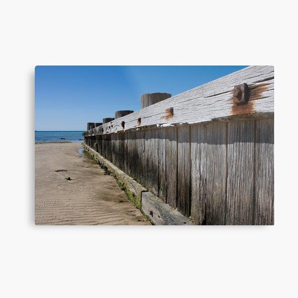 Timber beach retaining wall, Rye. Metal Print