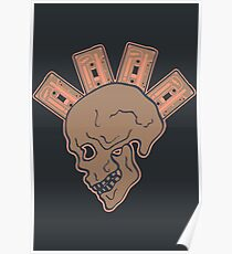 Mohawk Skull with Music Tapes Poster