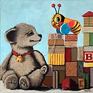 Honey Bear - whimsical still life oil painting by LindaAppleArt