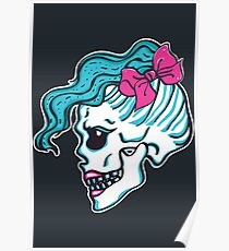 Female Skull with Hipster Hairstyle Poster