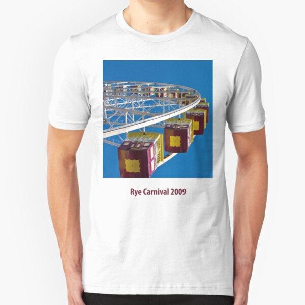 Ferris wheel at Rye foreshore carnival 2009 Slim Fit T-Shirt