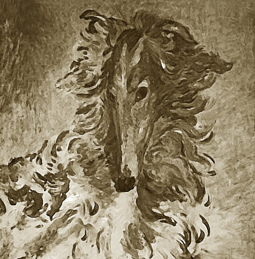 Borzoi Portrait Mocha by Happy Dog Swag