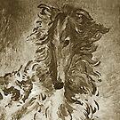 Borzoi Portrait Mocha by Happy Dog Swag