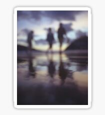 Silhouette of people walking on beach dusk sunset evening sky Hasselblad medium format film analogue photo Sticker