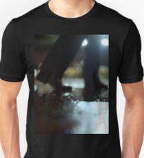 Man walking at night with urban city lights artistic color medium format square negative analog film photo T-Shirt