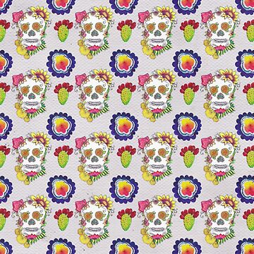 Watercolor Doodle Sugar Skull Cactus Fiesta Flower Mexico Day of the Dead Pattern by vivacandita