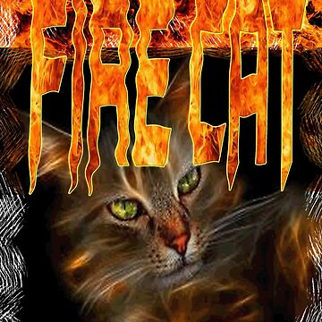 FIRE CAT TSHIRT by PETSDESIGN