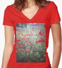 Red wild poppy flowers on green Hasselblad square medium format film analogue photograph Women's Fitted V-Neck T-Shirt