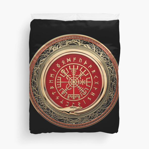 Vegvisir - A Gold Magic Viking Runic Compass on Black Leather Duvet Cover