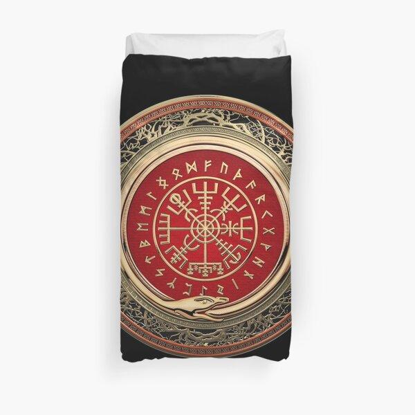 Vegvisir - Une boussole runique Viking Gold Magic sur cuir noir Housse de couette