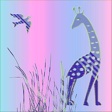 Giraffe and Bird von fuxart