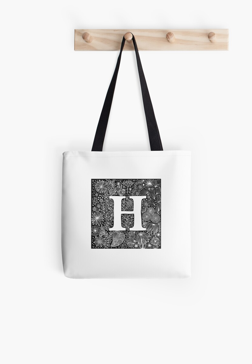 Letter H, floral calligraphic doodle by ychty