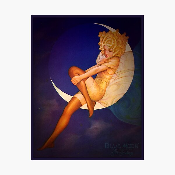 Vintage Woman Posing on a Crescent Moon Silk Stockings fashion advert Photographic Print