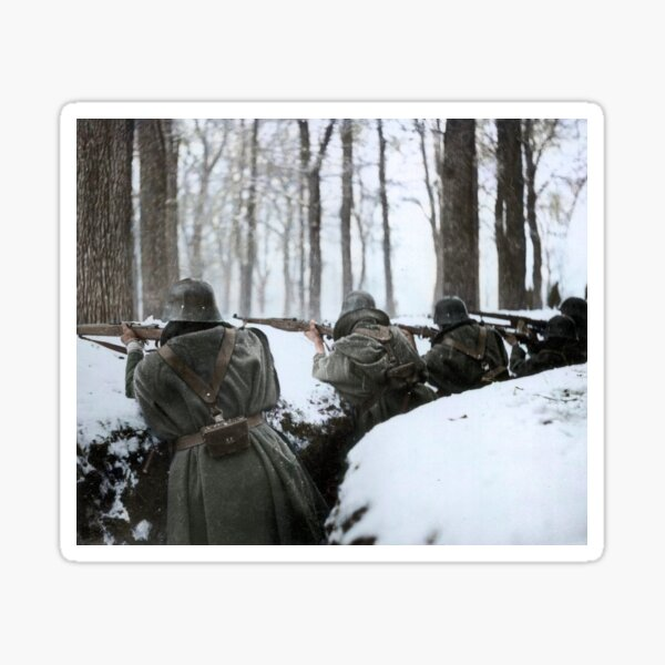 Soldiers aiming in trenches, Sierra de Guadarrama, 1936.  Sticker