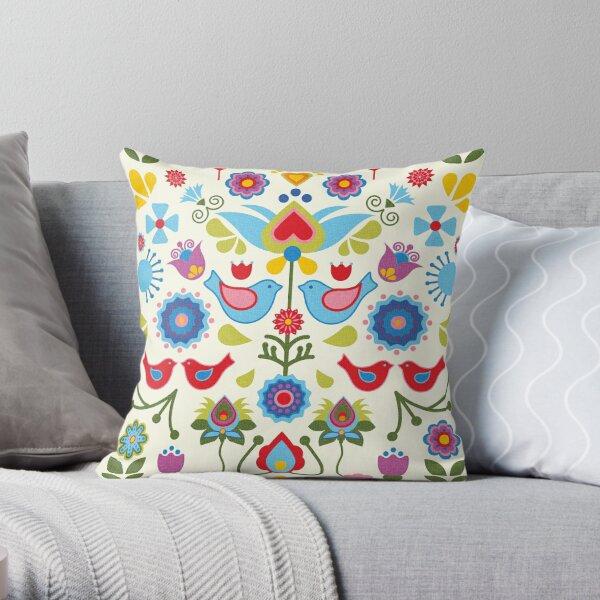 Scandinavian folk art birds and blooms Throw Pillow