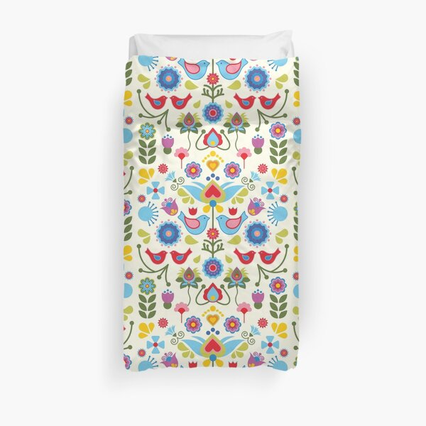 Scandinavian folk art birds and blooms Duvet Cover