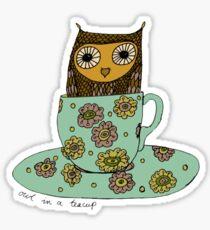 Owl in a teacup Sticker