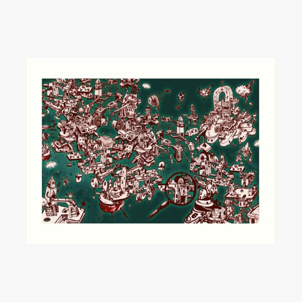 Sky Maze Ink - Green - 1 Art Print