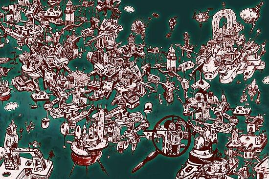Sky Maze Ink - Green - 1 by o0OdemocrazyO0o