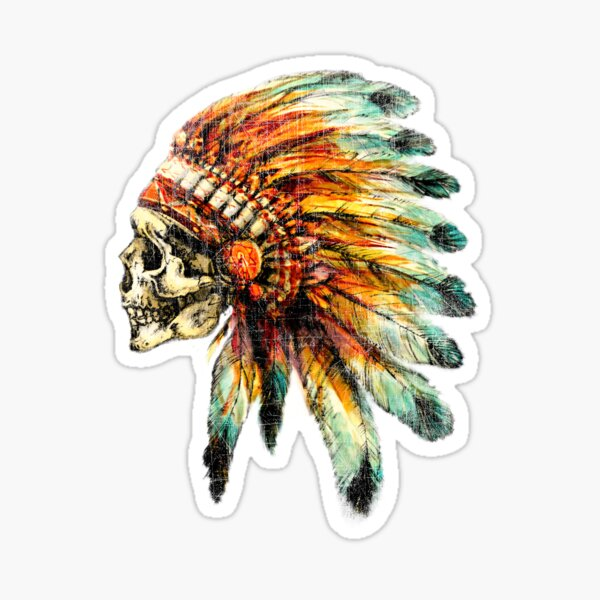 sin perder originalidad y autenticidad. nativo americano. Pegatina
