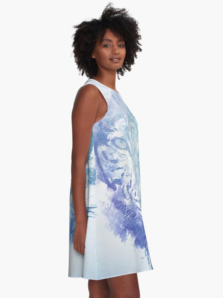 Alternative Ansicht von Abstraktes Aquarell Tiger Portrait / Face A-Linien Kleid
