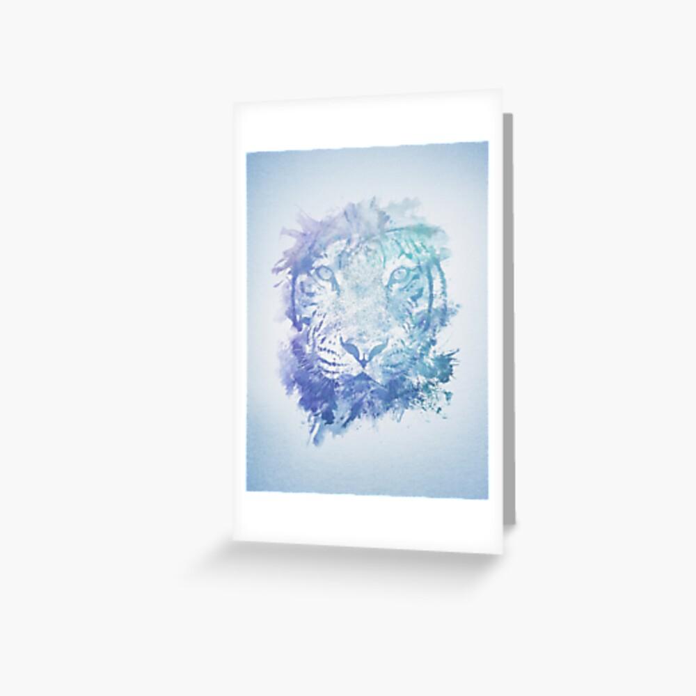 Abstraktes Aquarell Tiger Portrait / Face Grußkarte