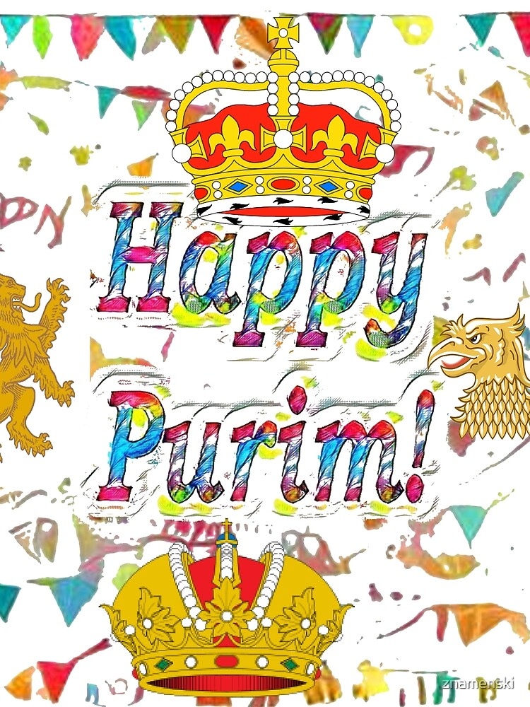 Happy Purim, happy, Purim, blessed, blest, blissful, blithe, cheerful by znamenski