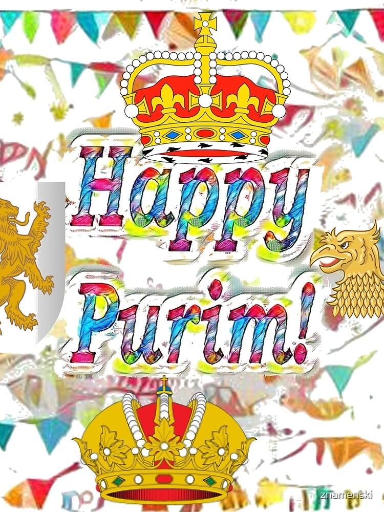 Happy Purim, happy, Purim, blessed, blest, blissful, blithe by znamenski