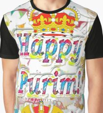 Happy Purim, happy, Purim, blessed, blest, blissful, blithe Graphic T-Shirt