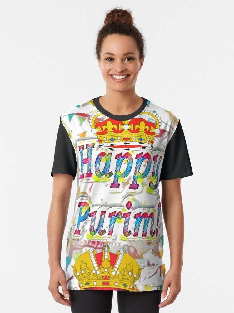 Alternate view of Happy Purim, happy, Purim, blessed, blest, blissful, blithe Graphic T-Shirt