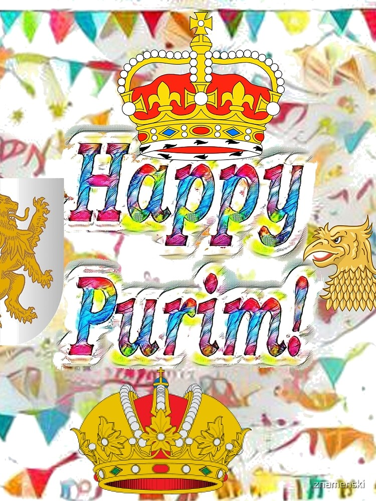 Happy Purim, happy, Purim, blessed, blest, blissful, blithe, Cartoon by znamenski