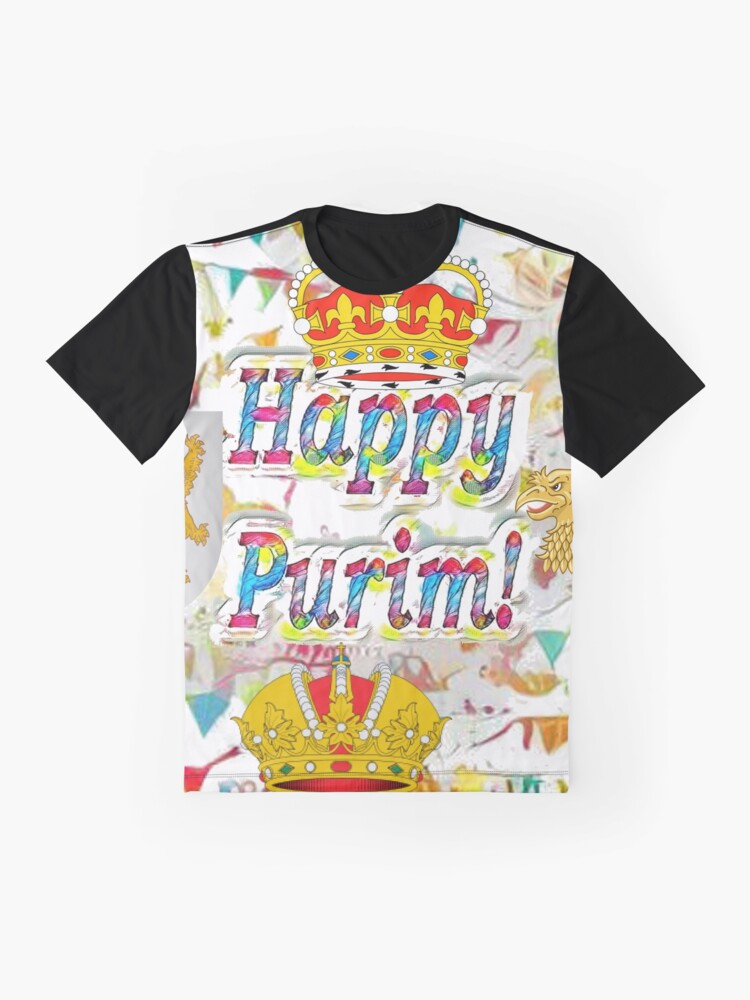 Alternate view of Happy Purim, happy, Purim, blessed, blest, blissful, blithe, Cartoon Graphic T-Shirt