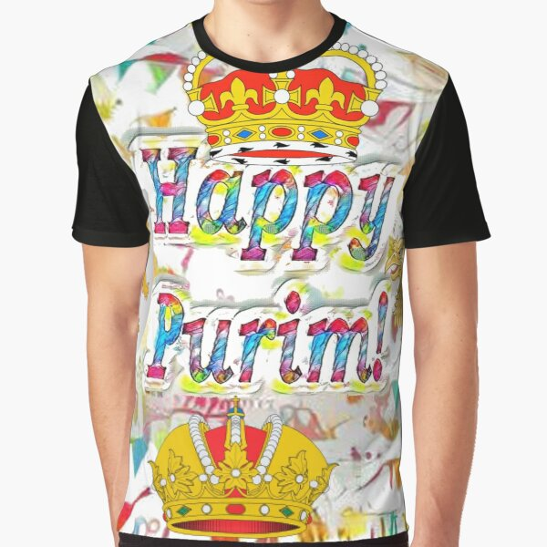 Happy Purim, happy, Purim, blessed, blest, blissful, blithe, Cartoon Graphic T-Shirt