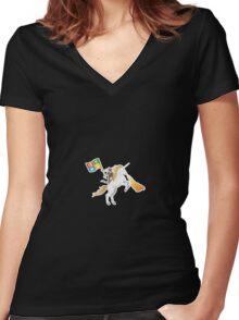 Ninja Cat Unicorn Women's Fitted V-Neck T-Shirt