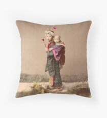 Japanese child carrying baby Throw Pillow