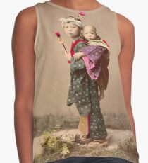 Japanese child carrying baby Contrast Tank
