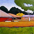 "Australian Backyard with Hills Hoist by Belinda ""BillyLee"" NYE (Printmaker)"