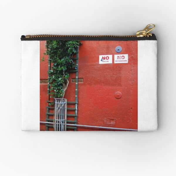Red Wall with Signs Zipper Pouch
