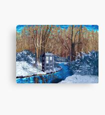 Frozen Blue Phone booth Canvas Print