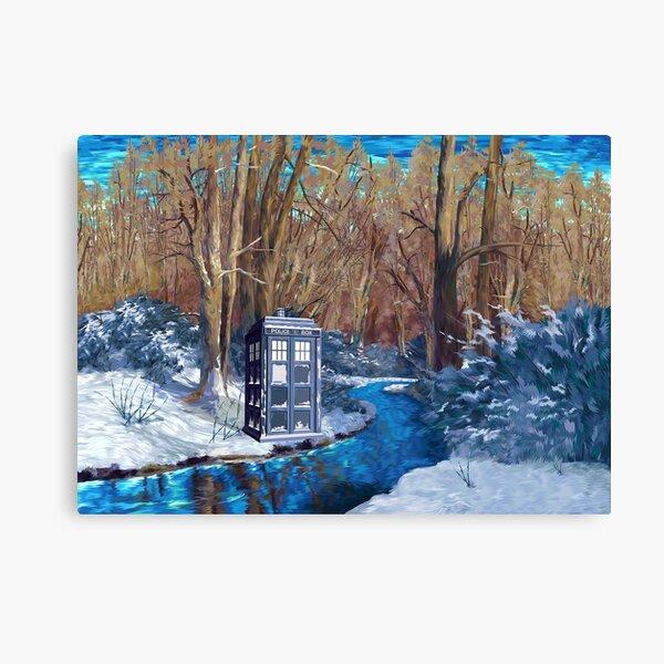 Frozen Blue Telefonzelle Leinwanddruck